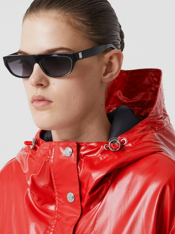Horseferry Print Coated Jersey Parka in Bright Red - Women | Burberry - cell image 1