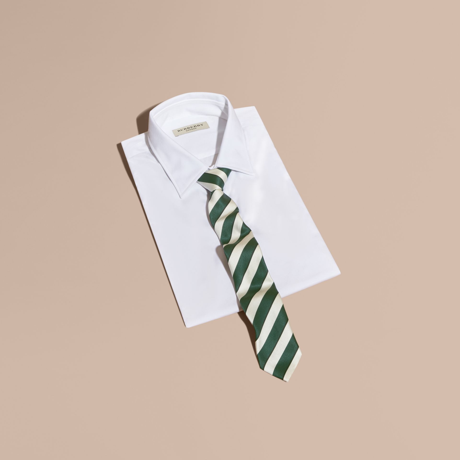 Forest green Slim Cut Striped Silk Cotton Tie Forest Green - gallery image 3
