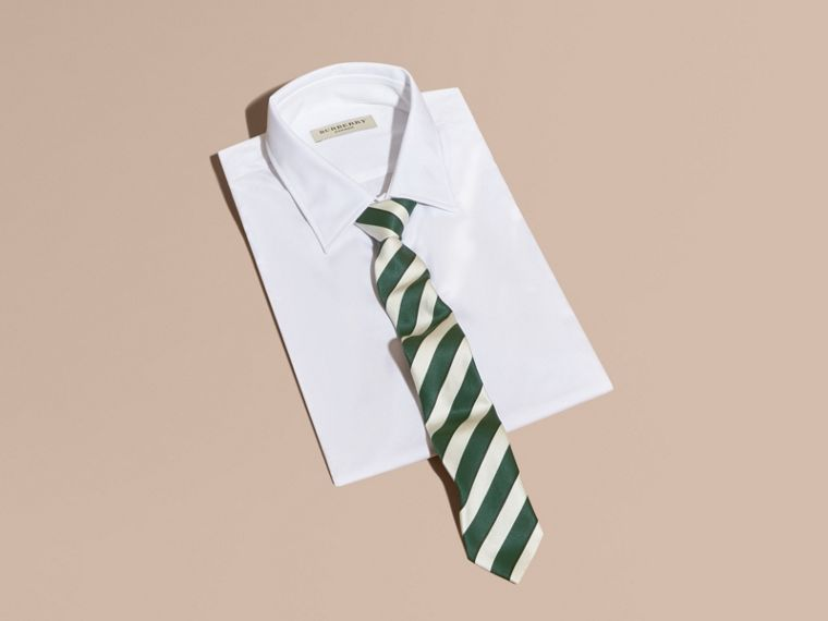 Forest green Slim Cut Striped Silk Cotton Tie Forest Green - cell image 2