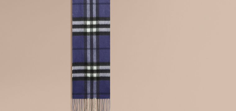 Thistle blue The Mini Classic Cashmere Scarf in Check - cell image 1