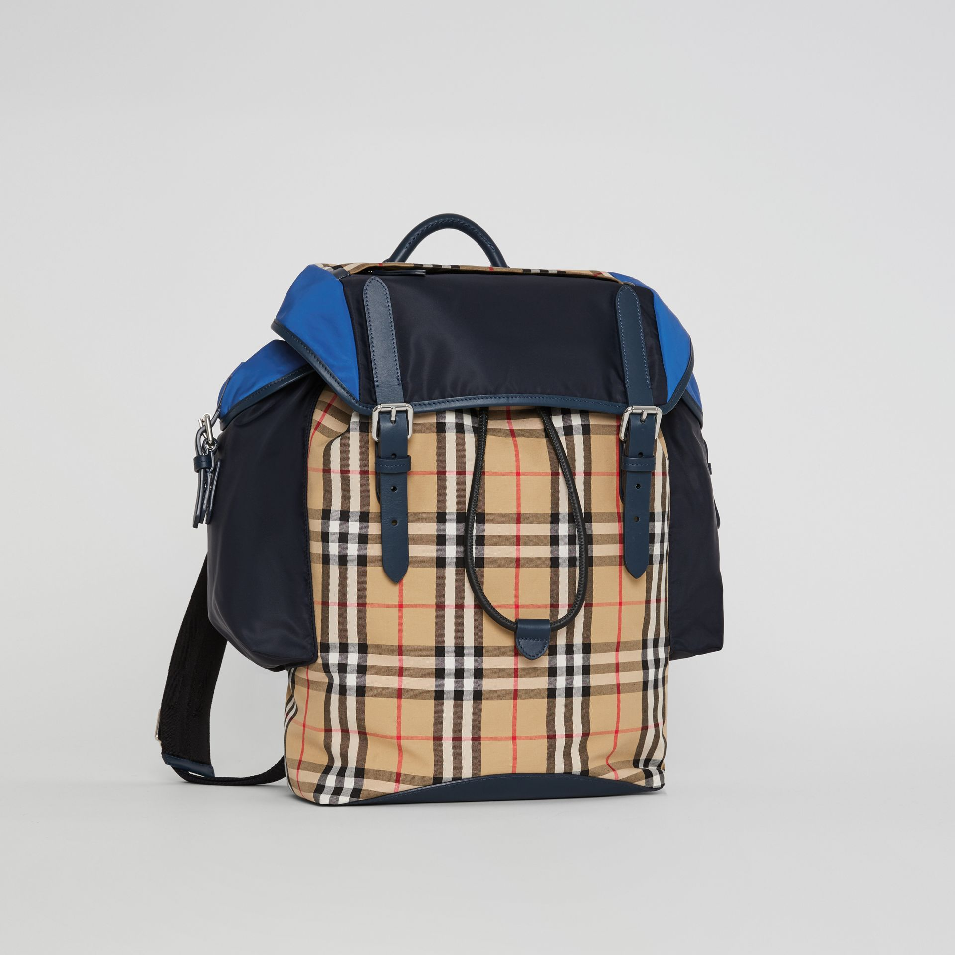 Colour Block Vintage Check and Leather Backpack in Navy - Men | Burberry - gallery image 6