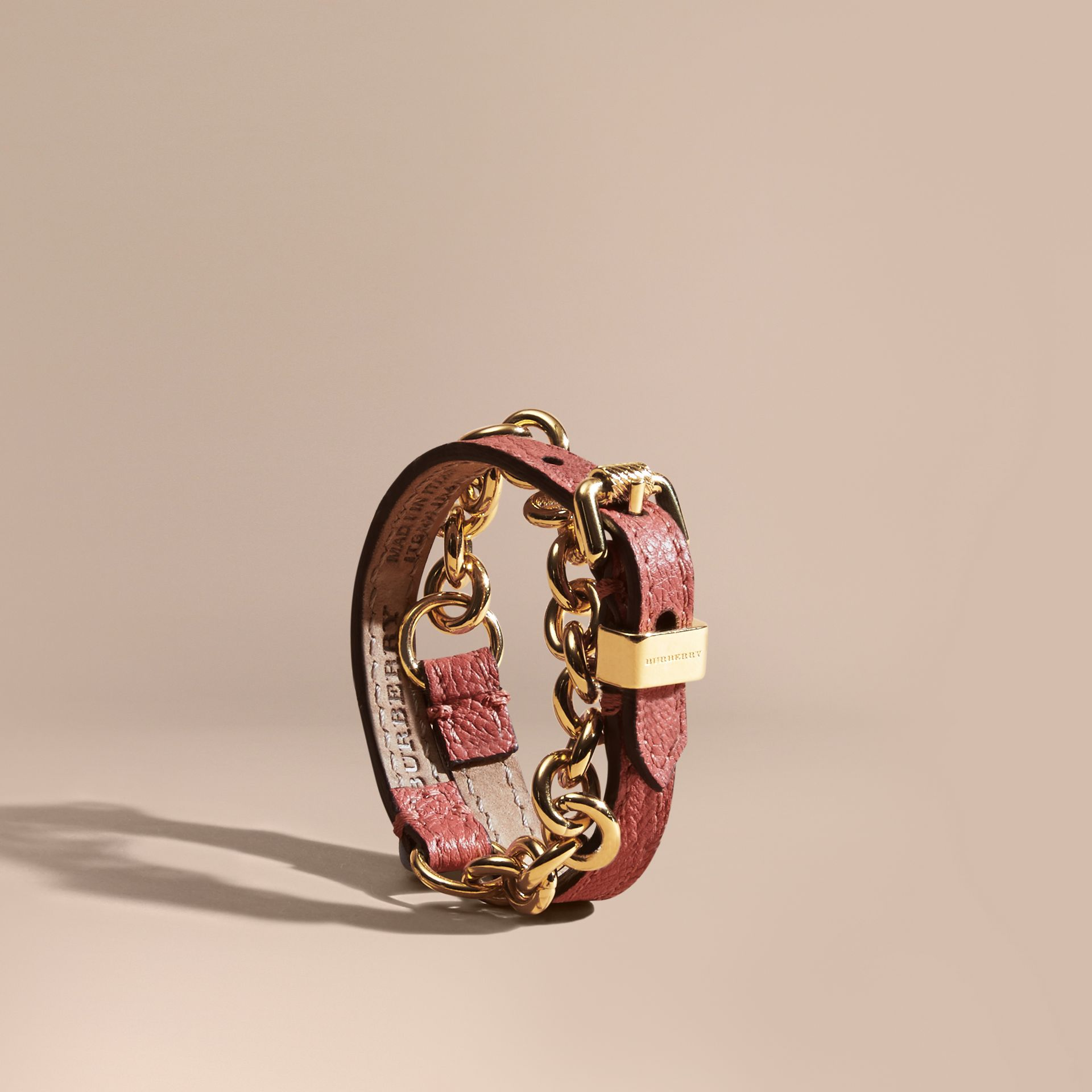 Copper pink Double-wrap Grainy Leather and Chain Bracelet - gallery image 1