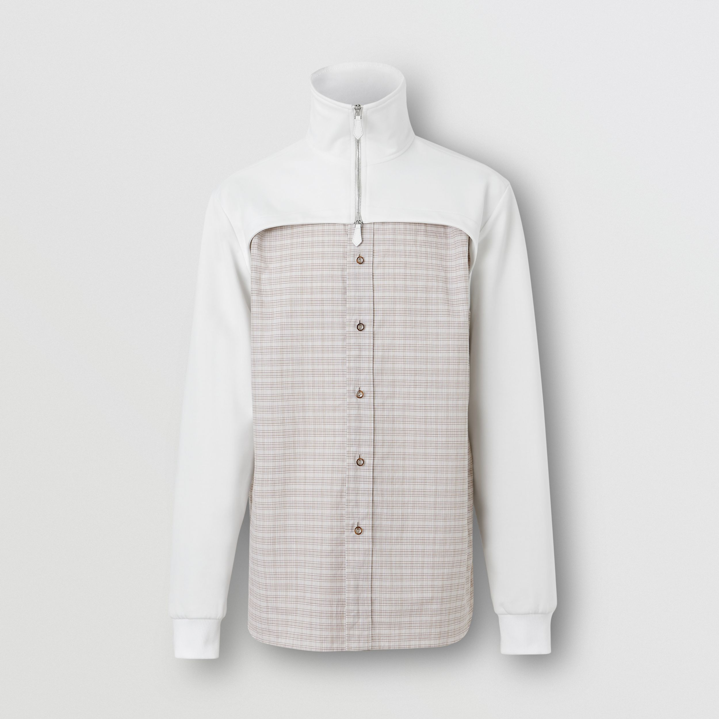 Track Top Detail Small Scale Check Cotton Shirt in Beige/natural White - Men | Burberry - 4
