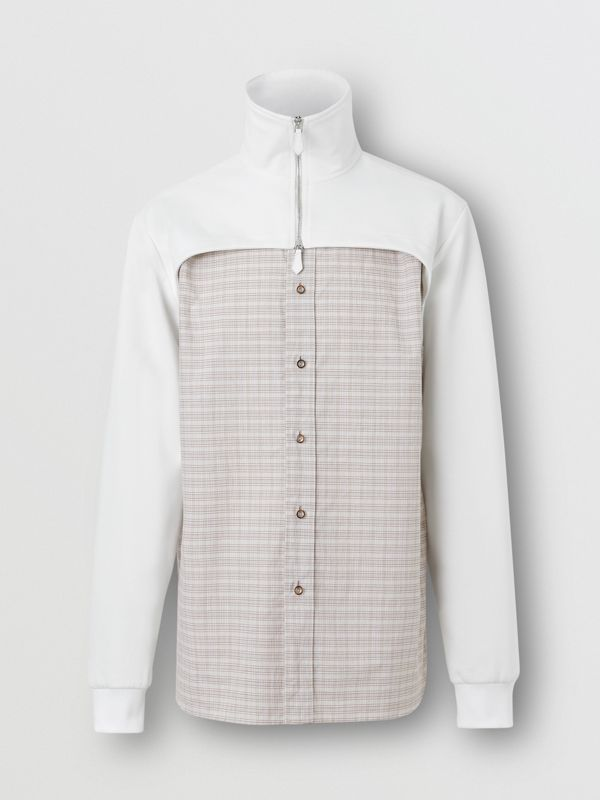 Track Top Detail Small Scale Check Cotton Shirt in Beige/natural White - Men | Burberry - cell image 3