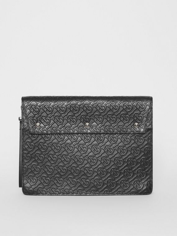 Triple Stud Monogram Leather Document Case in Black
