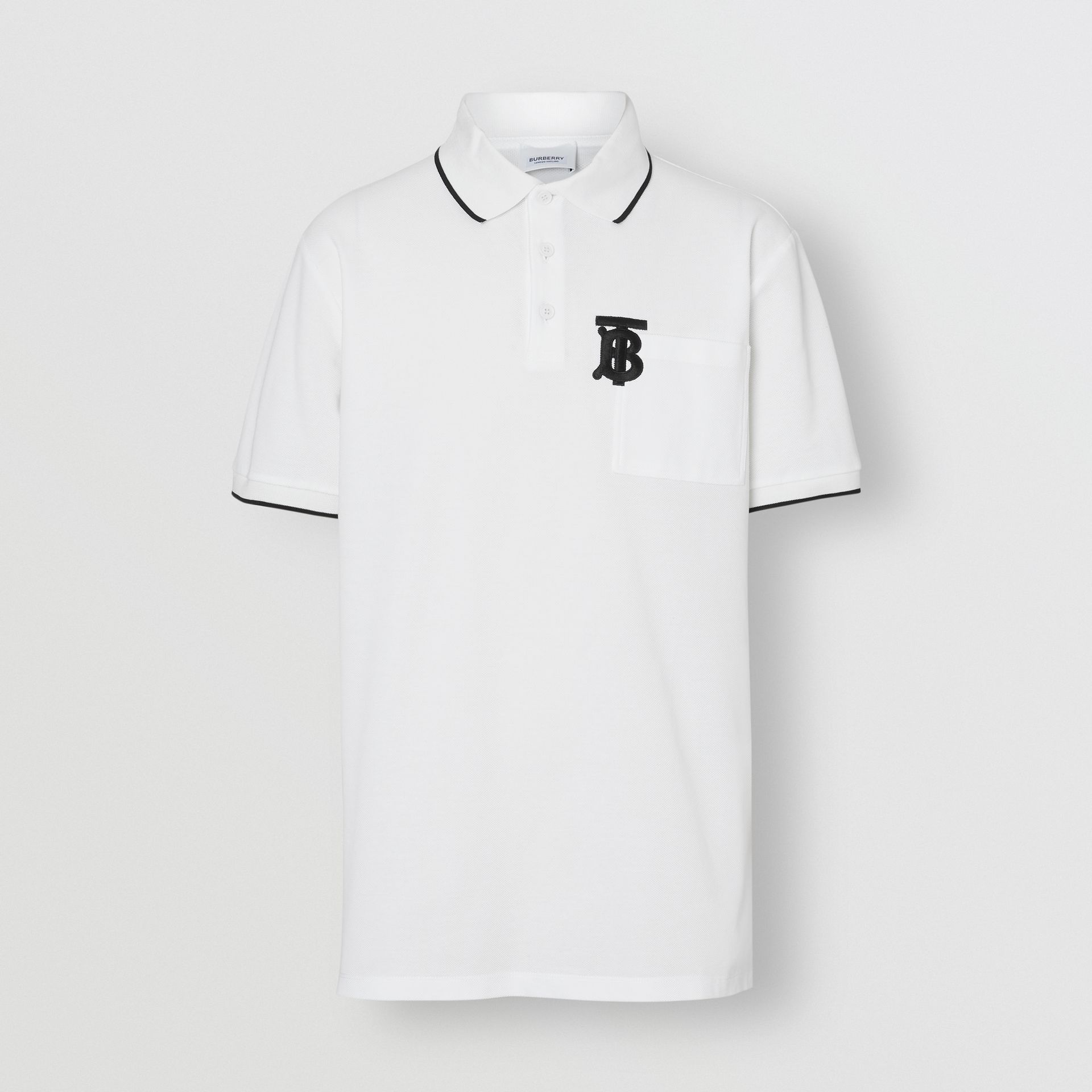 Monogram Motif Tipped Cotton Piqué Polo Shirt in White - Men | Burberry United Kingdom - gallery image 3