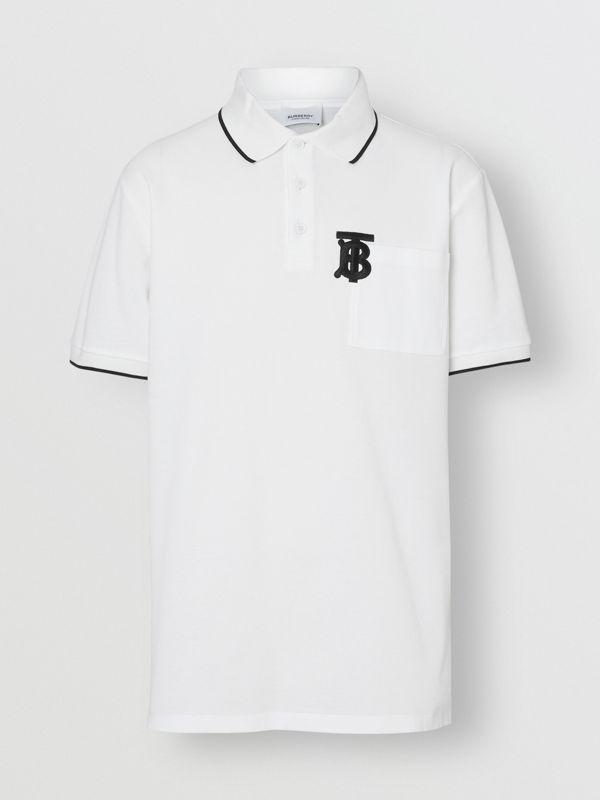 Monogram Motif Tipped Cotton Piqué Polo Shirt in White - Men | Burberry - cell image 3