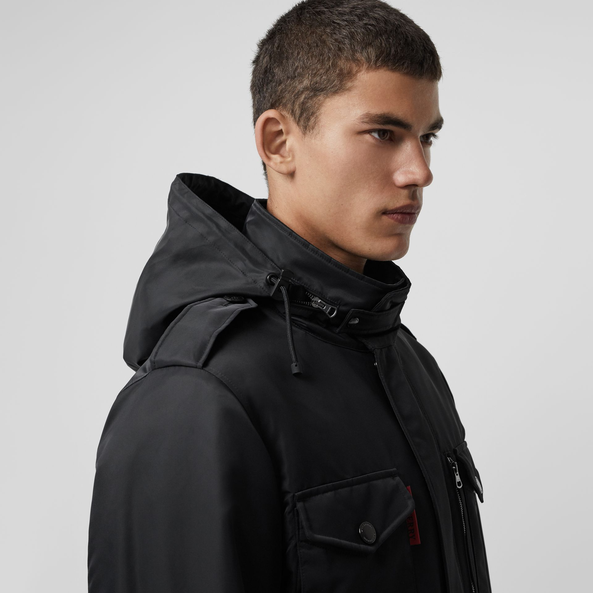 Packaway Hood Padded Field Jacket in Black - Men | Burberry - gallery image 1