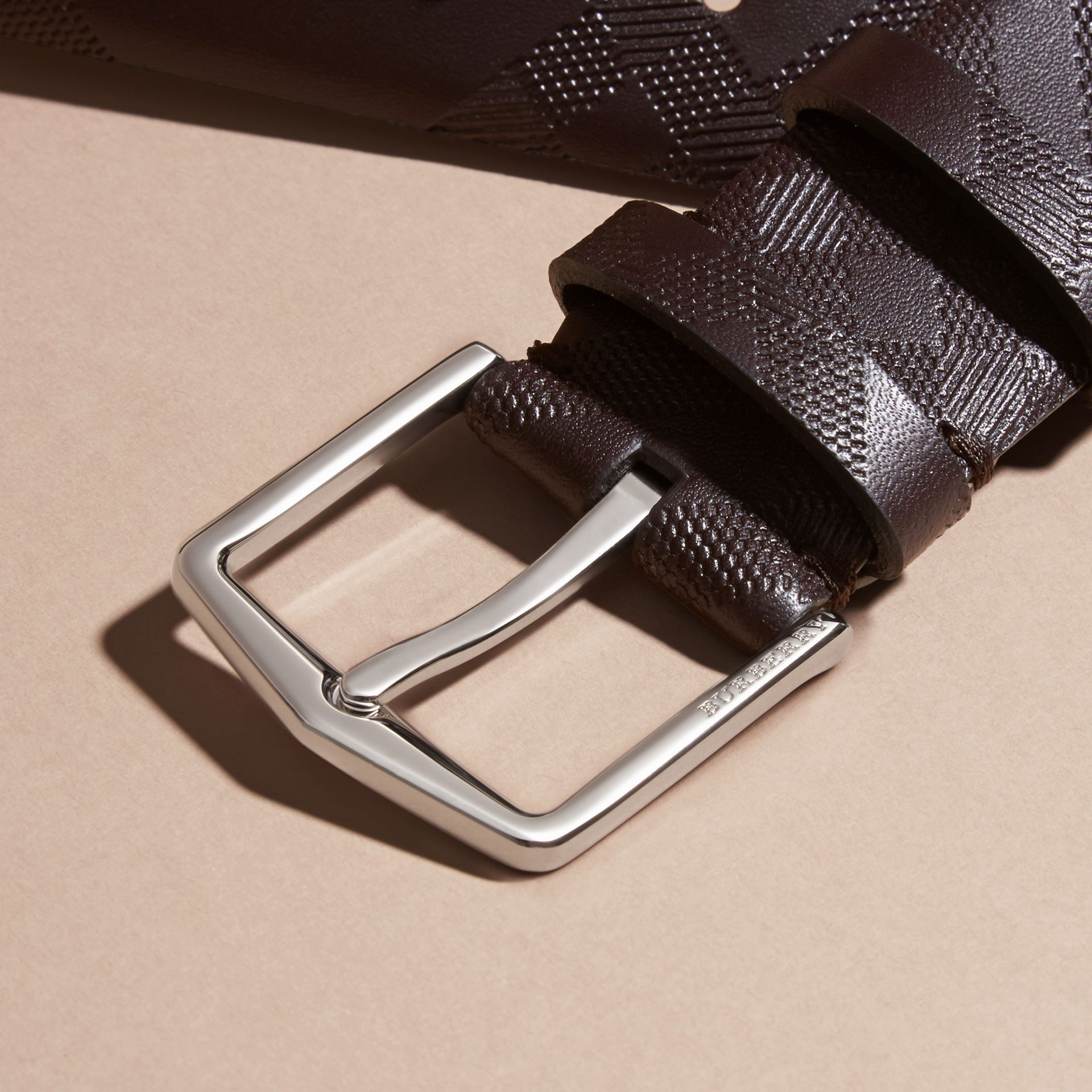 Leather Trim London Check Belt in Bitter Chocolate - Men | Burberry - gallery image 2