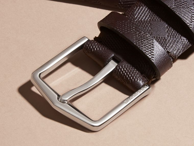 Leather Trim London Check Belt in Bitter Chocolate - Men | Burberry - cell image 1