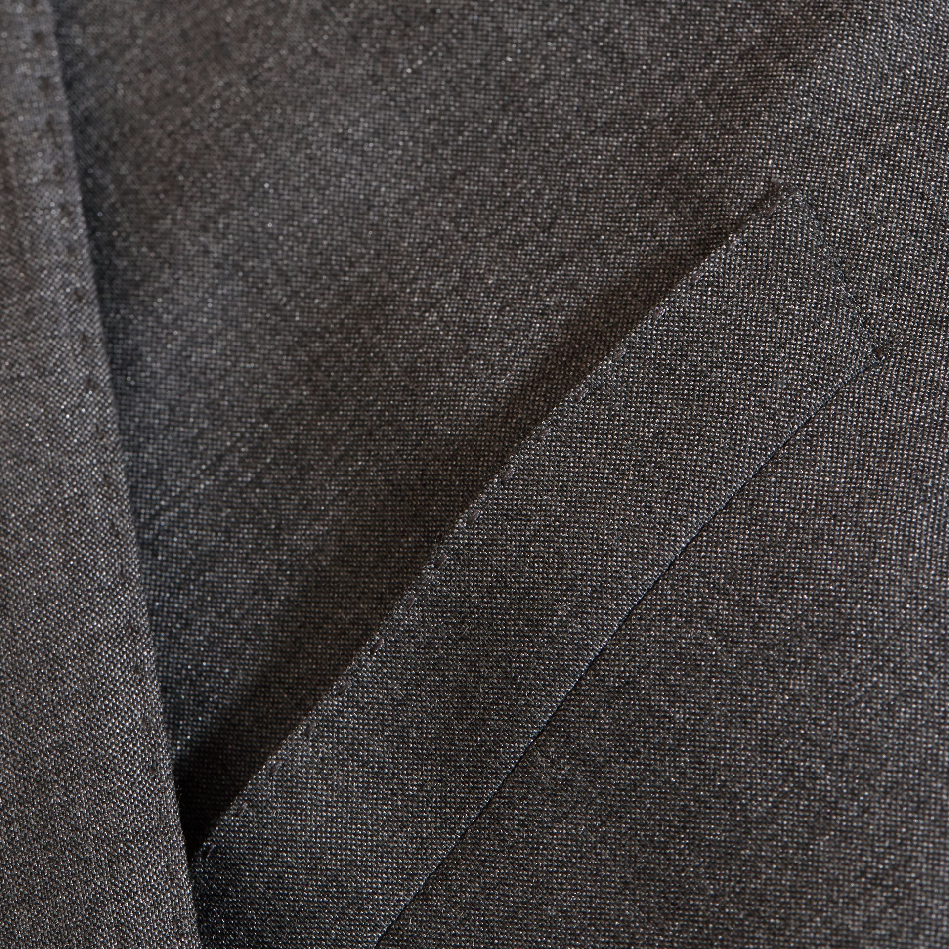 Dark grey melange Modern Fit Wool Silk Half-canvas Suit - gallery image 2