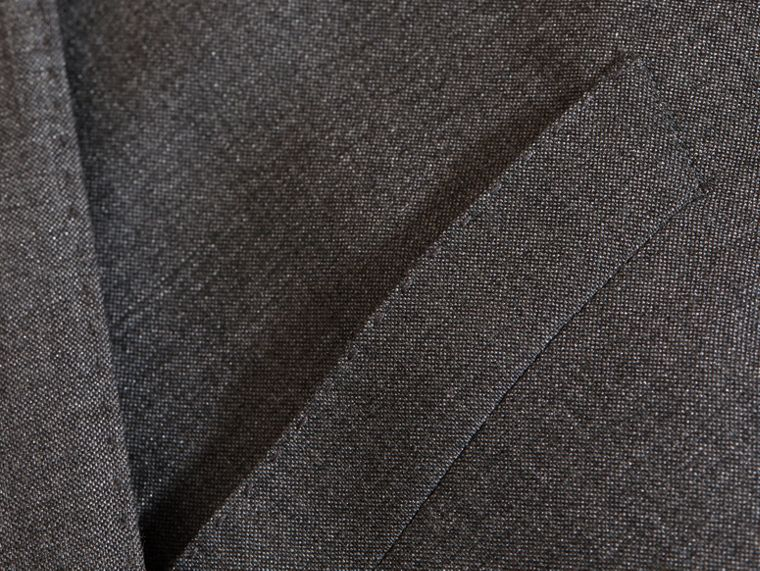 Dark grey melange Modern Fit Wool Silk Half-canvas Suit - cell image 1