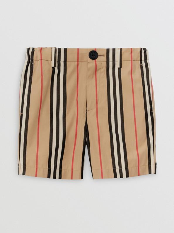 Хлопчатобумажные шорты в полоску (Винтажный Бежевый)