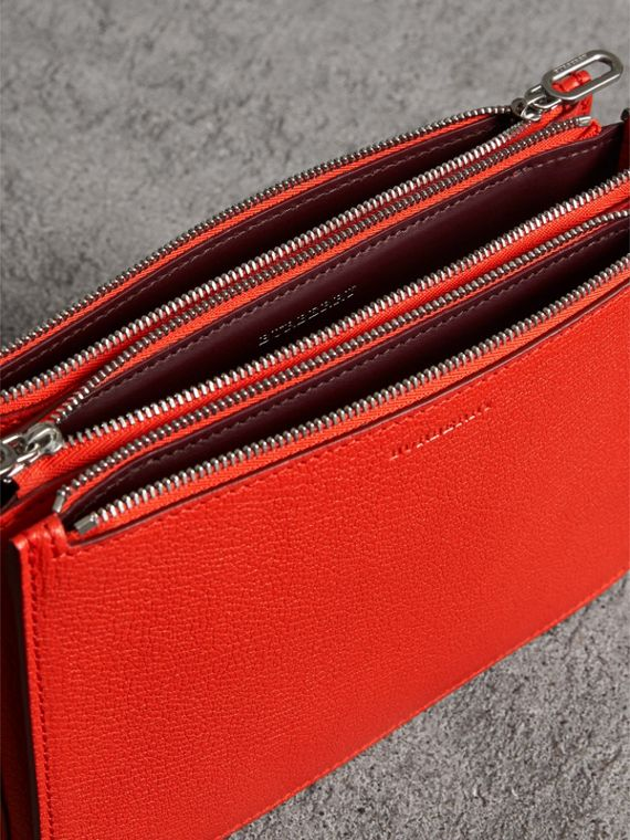 Triple Zip Grainy Leather Crossbody Bag in Bright Red - Women | Burberry Canada - cell image 3