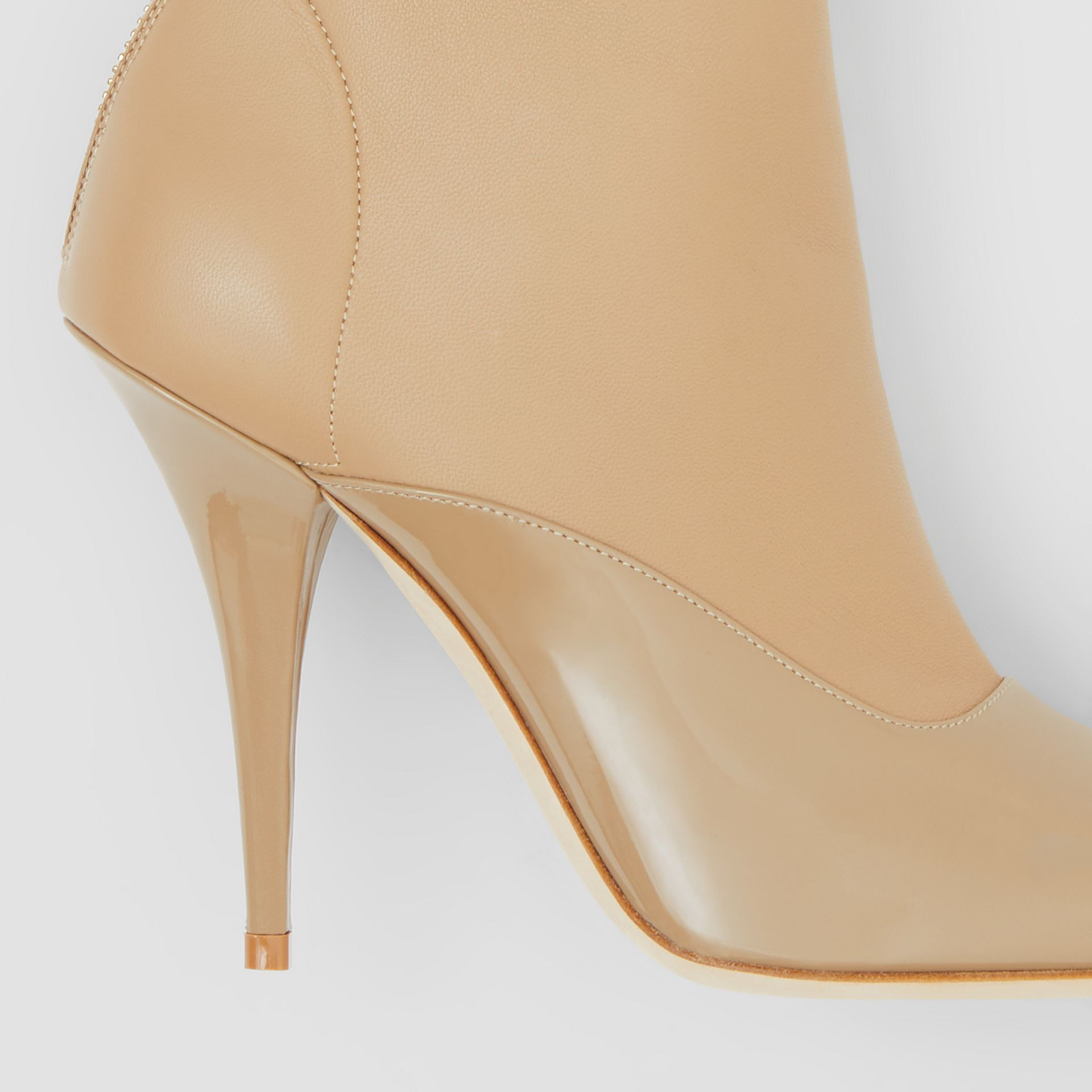 Lambskin and Patent Leather Ankle Boots in Dark Honey - Women | Burberry Australia - gallery image 1