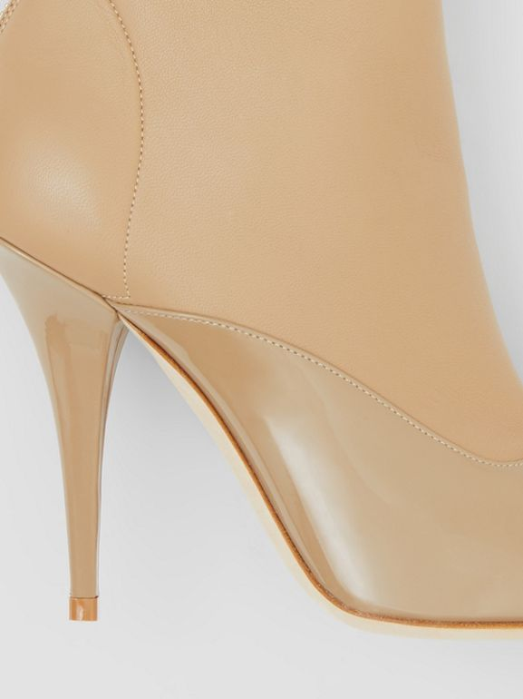 Lambskin and Patent Leather Ankle Boots in Dark Honey - Women | Burberry Australia - cell image 1