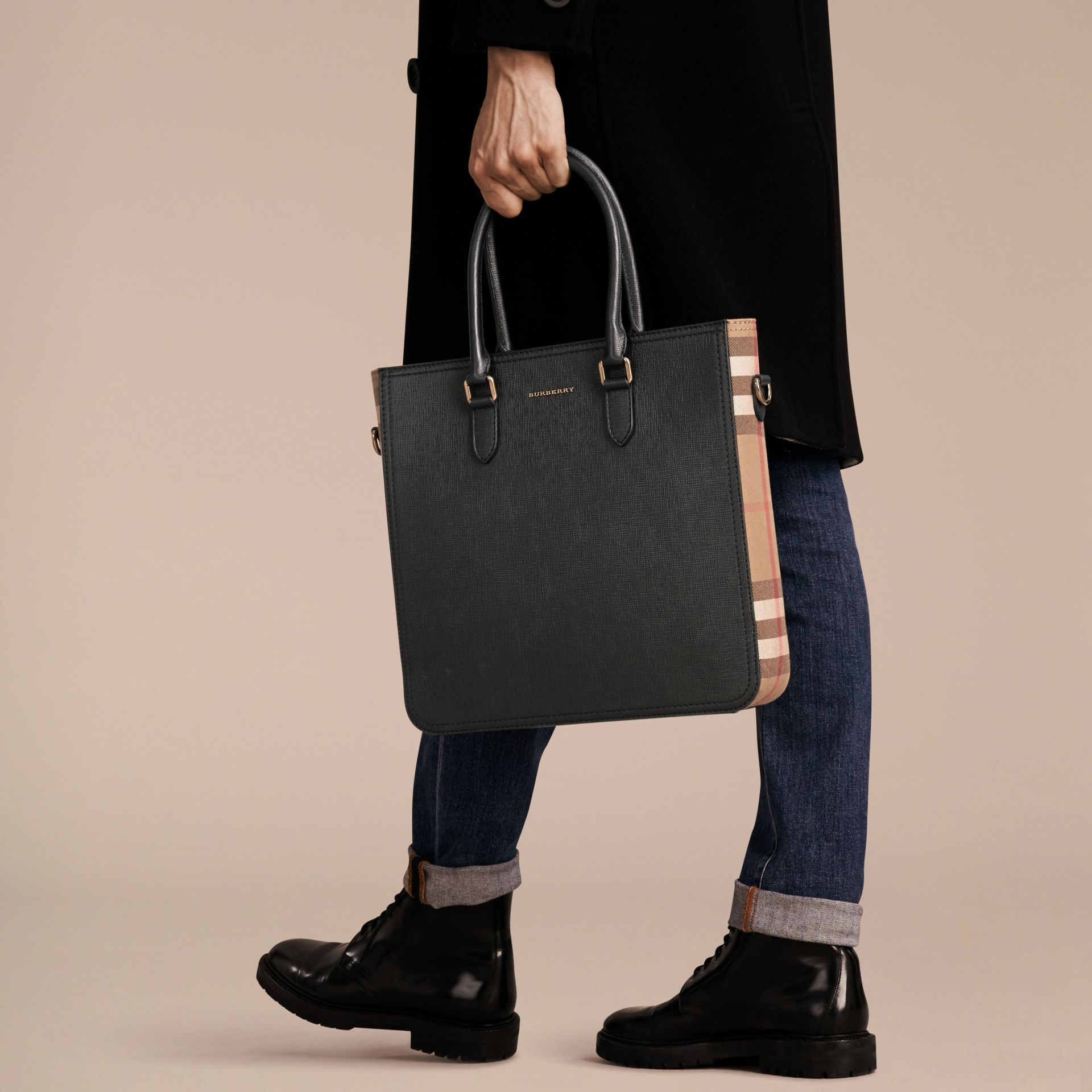 Black London Leather and House Check Tote Bag - gallery image 4