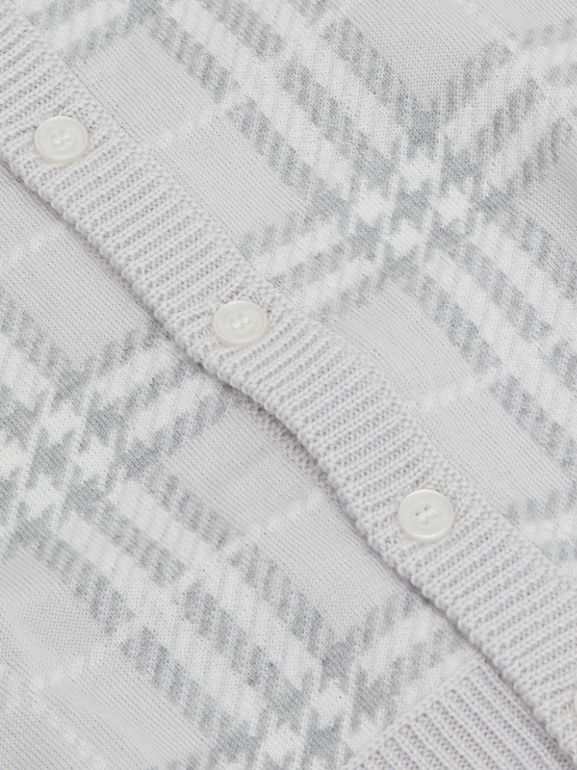 Check Merino Wool Jacquard Cardigan in Pale Grey - Children | Burberry - cell image 1