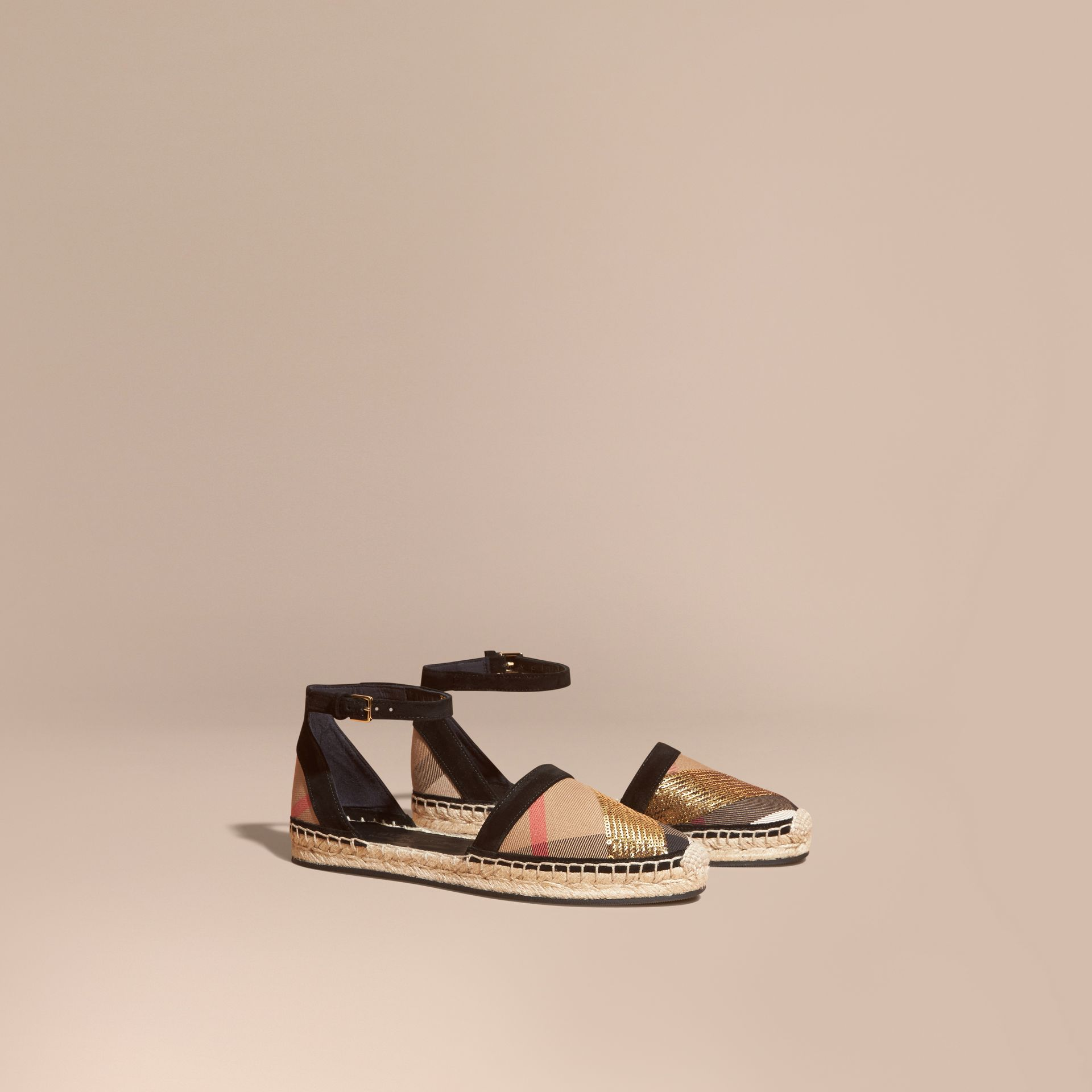 House check/gold Sequinned Leather and House Check Espadrille Sandals Check/gold - gallery image 1
