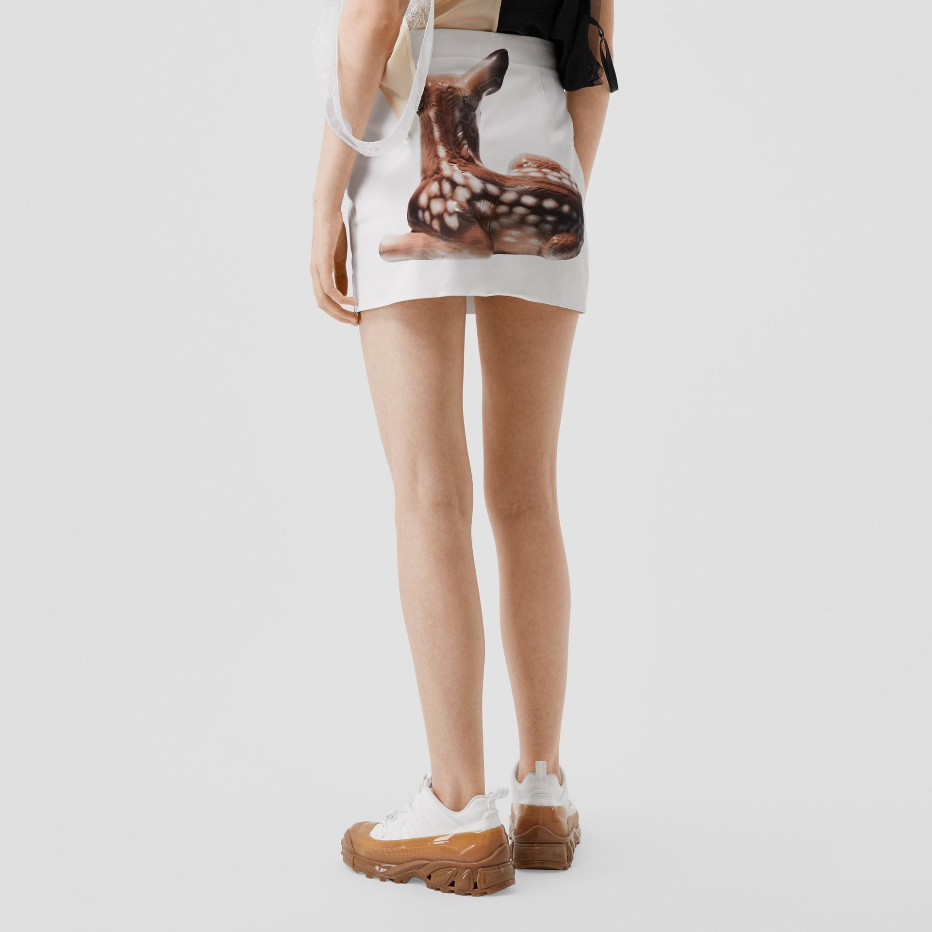 Deer Print Stretch Denim Mini Skirt in White - Women | Burberry - gallery image 2