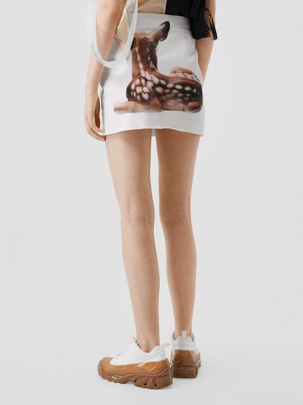 Deer Print Stretch Denim Mini Skirt in White - Women | Burberry - cell image 2