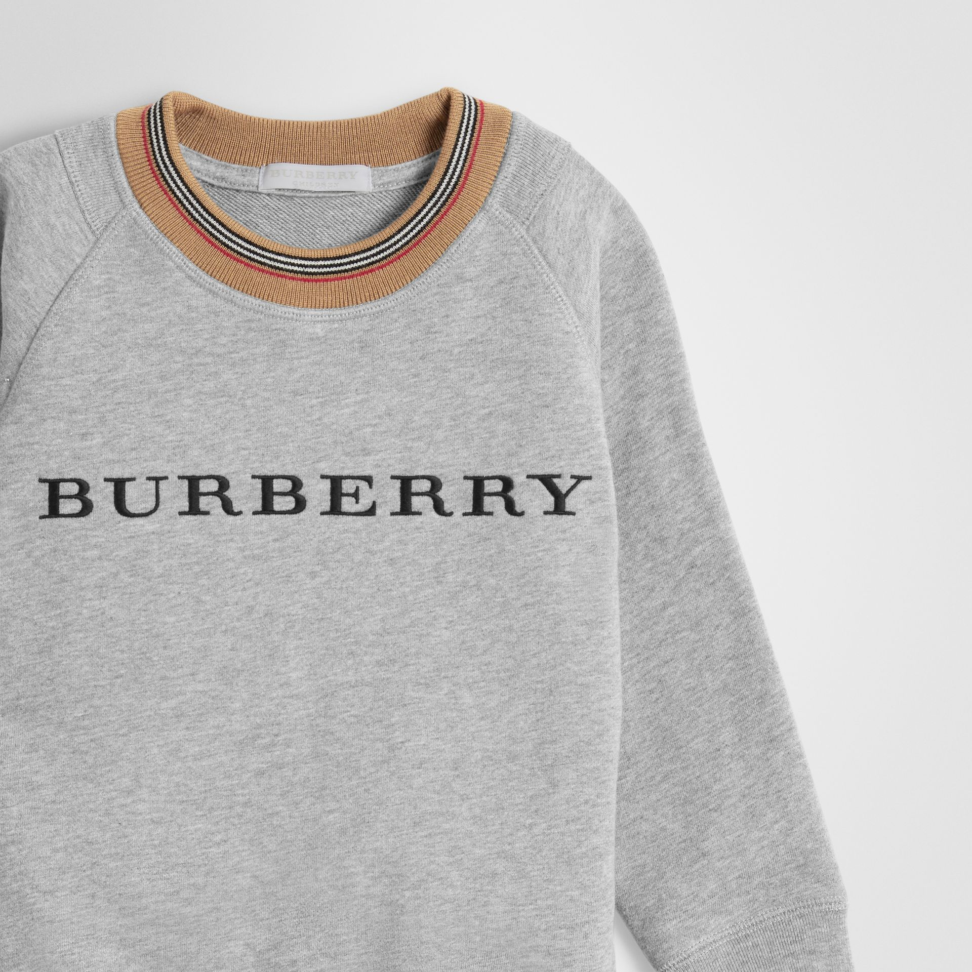 Icon Stripe Detail Embroidered Cotton Sweatshirt in Grey Melange | Burberry - gallery image 4