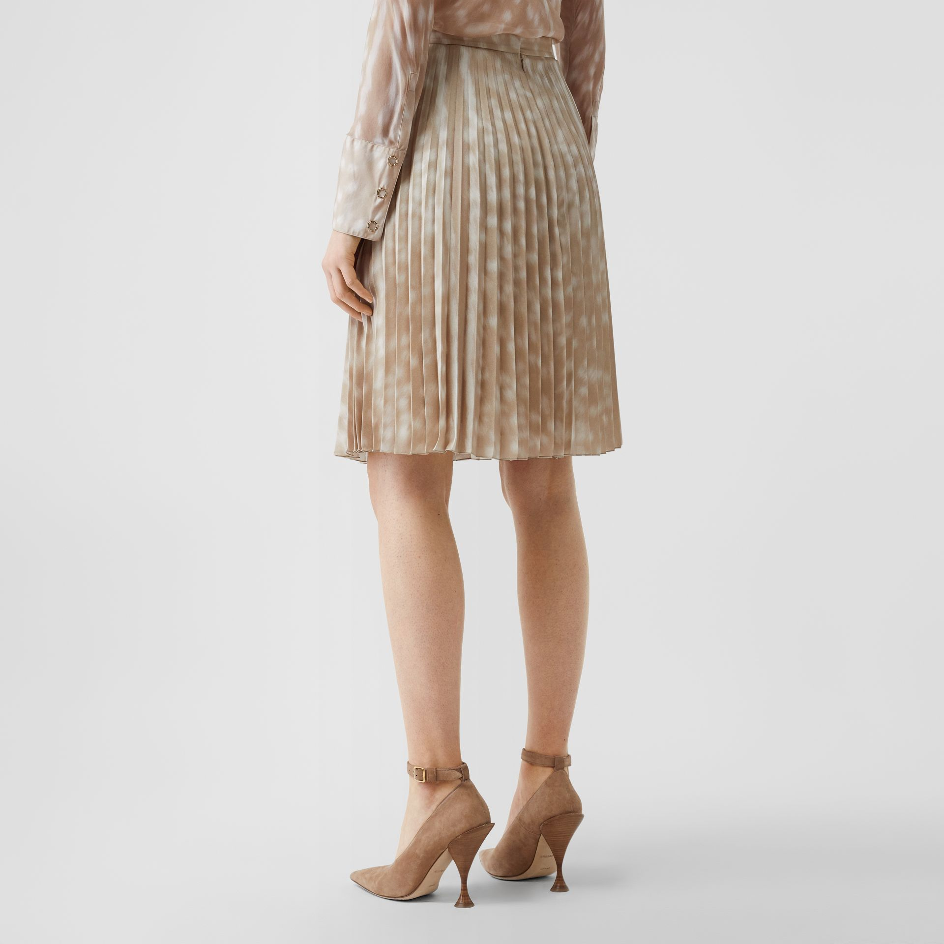 Deer Print Pleated Skirt in Soft Fawn - Women | Burberry - gallery image 2