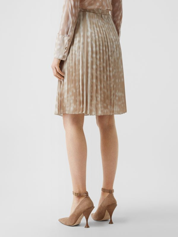Deer Print Pleated Skirt in Soft Fawn - Women | Burberry - cell image 2
