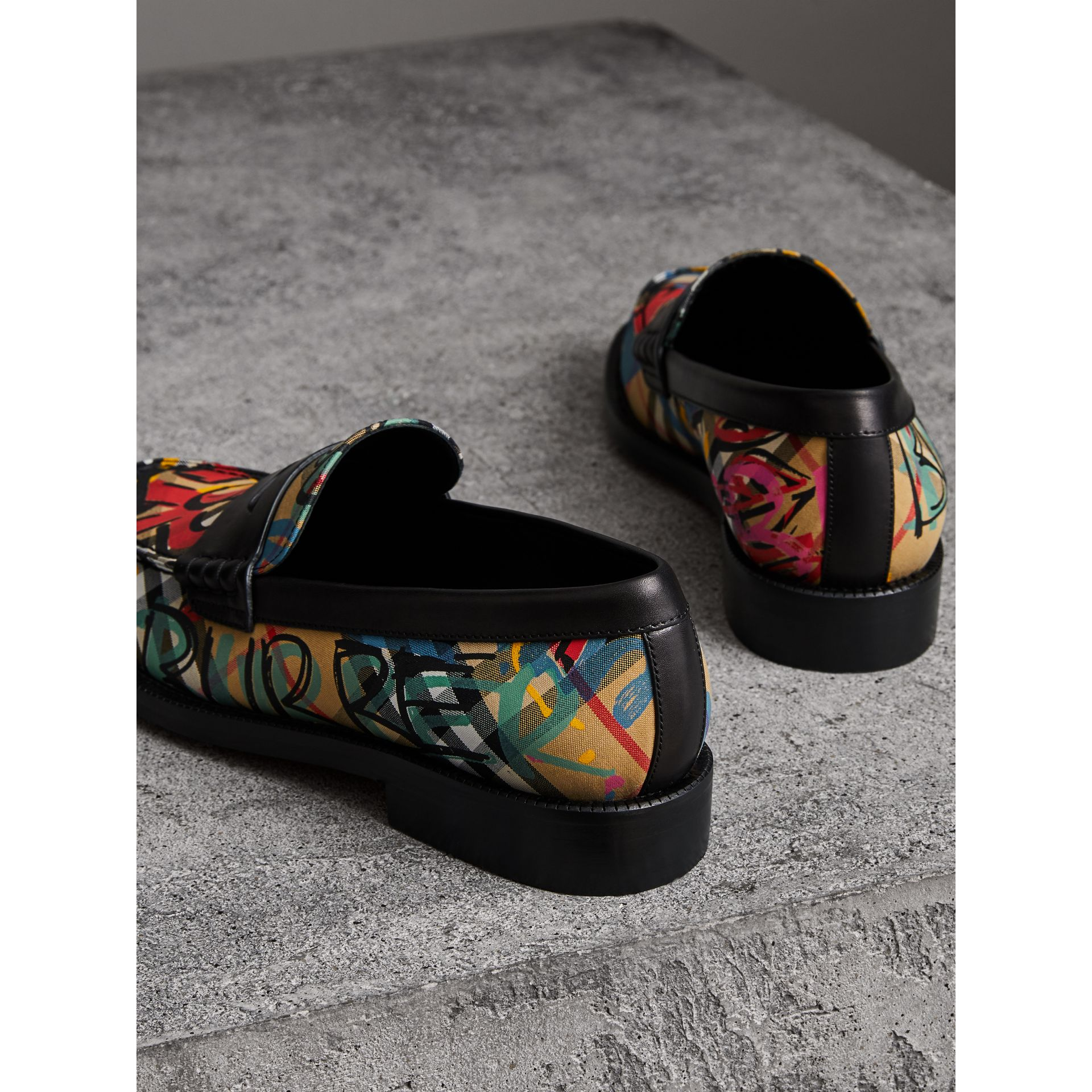 Graffiti Vintage Check Cotton Penny Loafers in Antique Yellow - Women | Burberry United Kingdom - gallery image 2