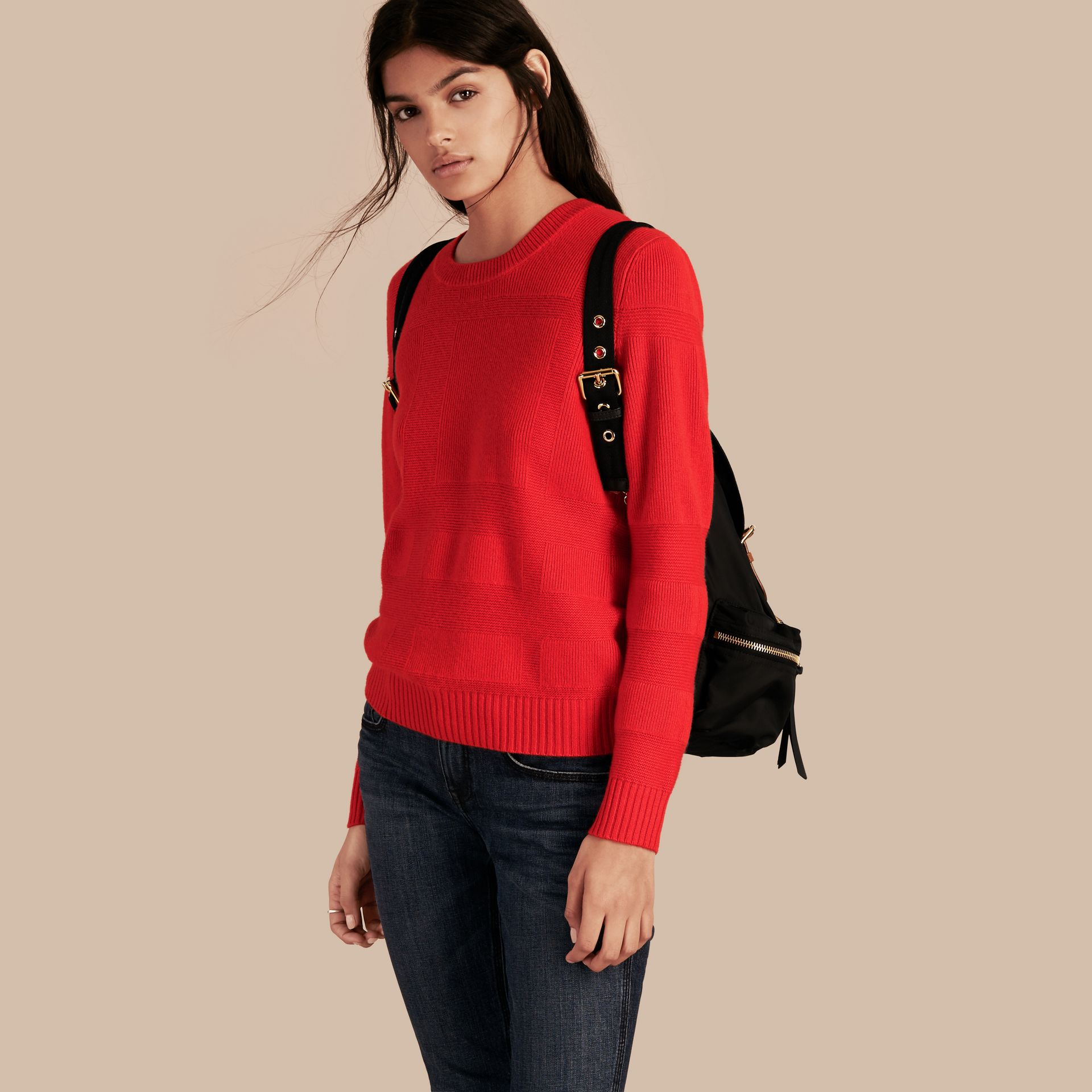 Check-knit Wool Cashmere Sweater in Bright Military Red - gallery image 1