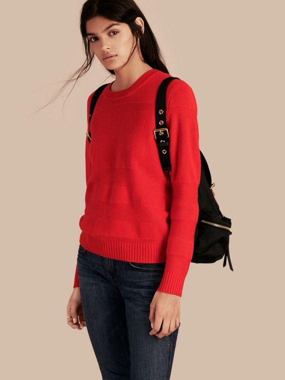 Check-knit Wool Cashmere Sweater Bright Military Red