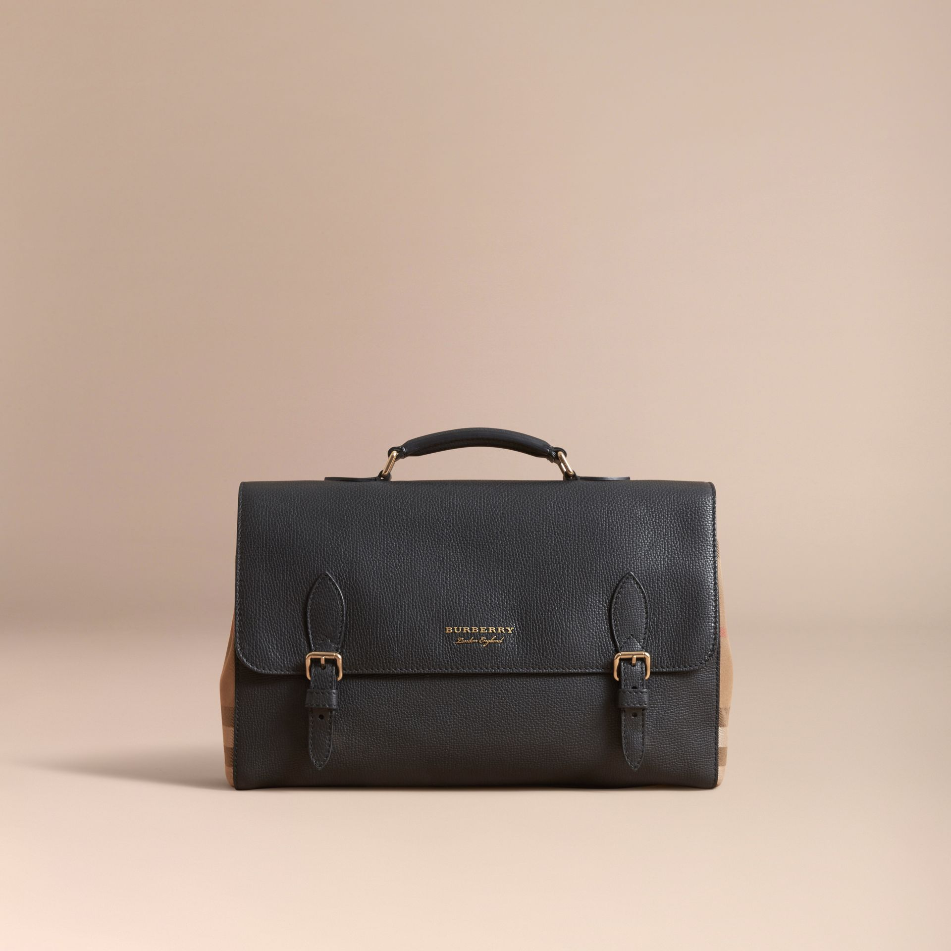 Leather and House Check Satchel in Black - Men | Burberry - gallery image 8