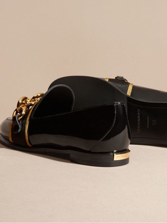 Black/gold Chain Detail Leather Loafers - cell image 3