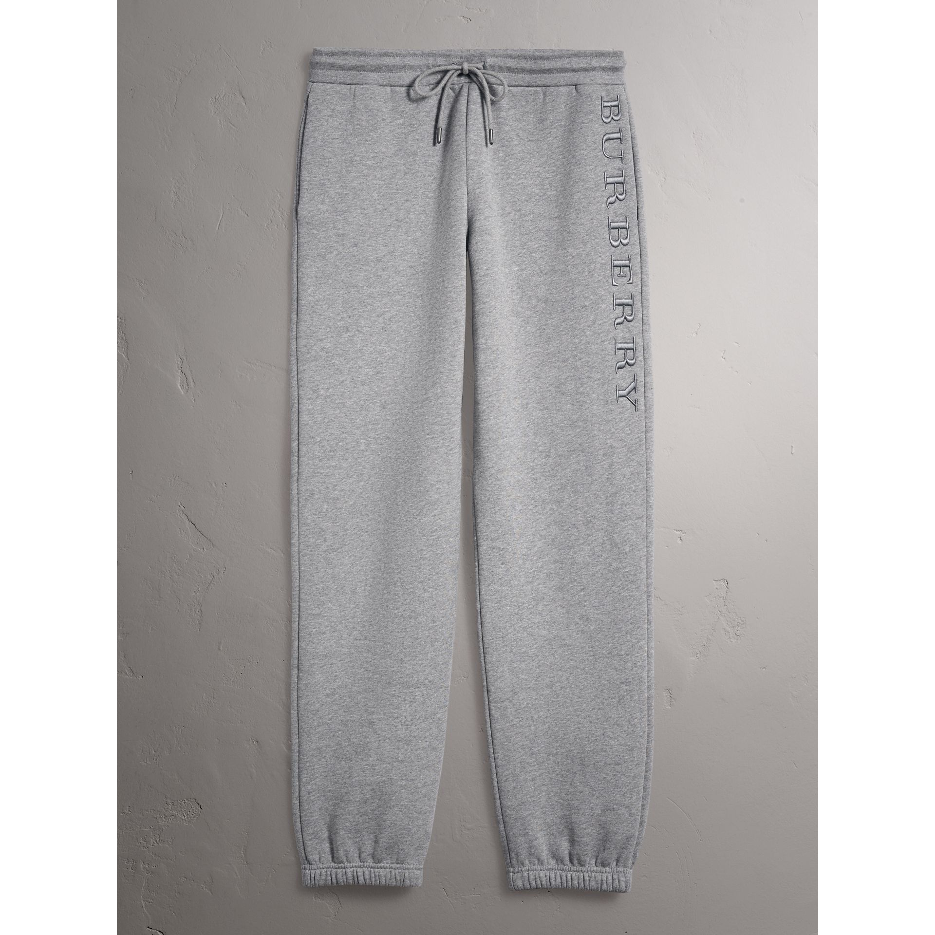 Embroidered Jersey Sweatpants in Pale Grey Melange - Women | Burberry United Kingdom - gallery image 3