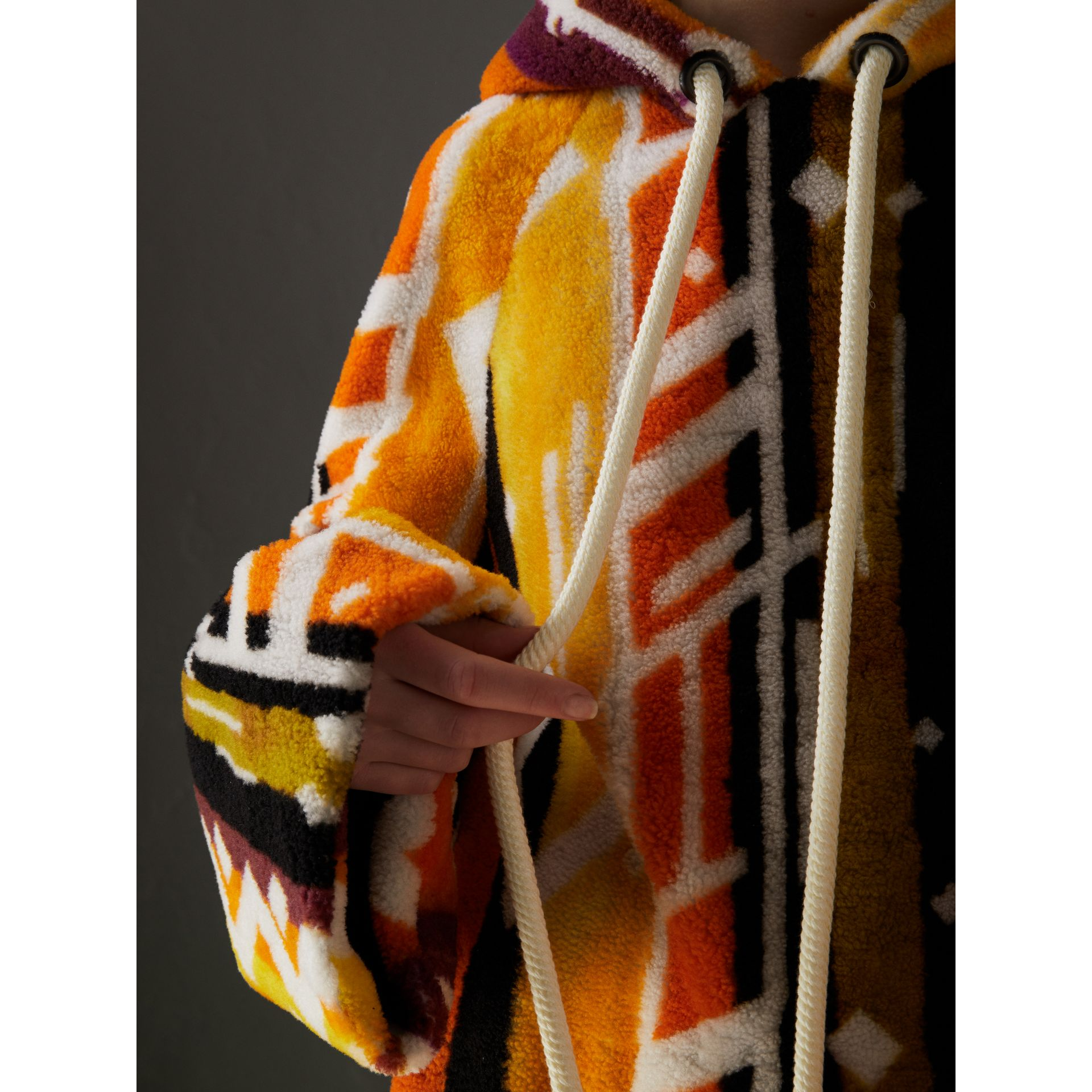 Clash Print Shearling Hoodie in Yellow - Women | Burberry - gallery image 1