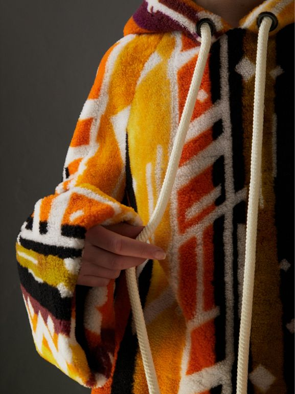Clash Print Shearling Hoodie in Yellow - Women | Burberry - cell image 1
