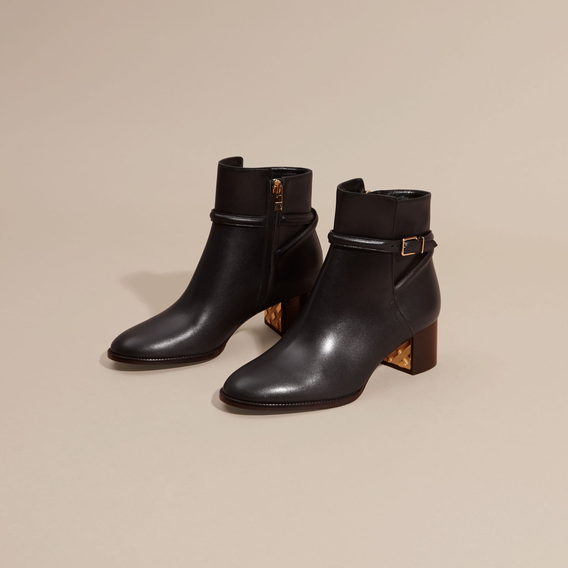 Black Strap Detail Leather Ankle Boots - gallery image 3