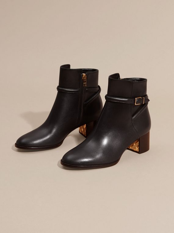 Black Strap Detail Leather Ankle Boots - cell image 2