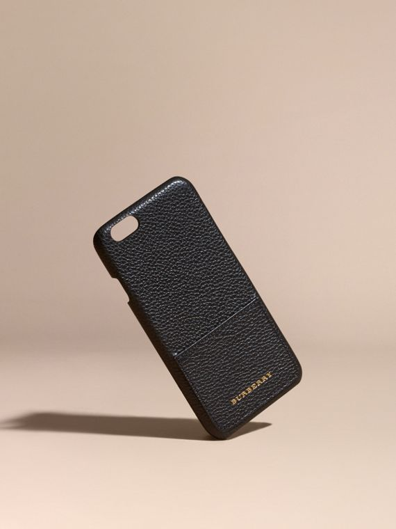 Grainy Leather iPhone 6 Case in Black | Burberry Canada