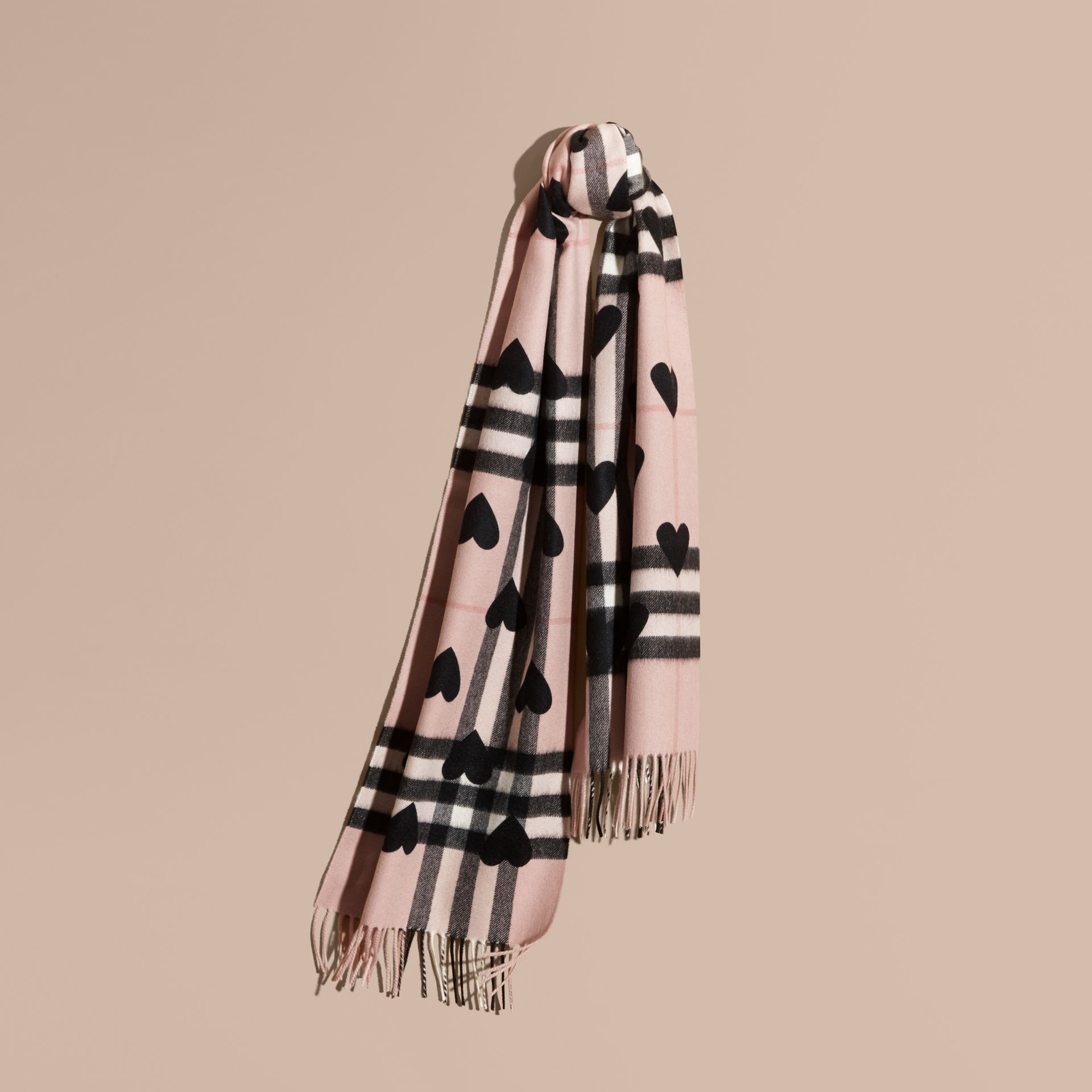 The Classic Cashmere Scarf in Check and Hearts Rose/black - gallery image 6