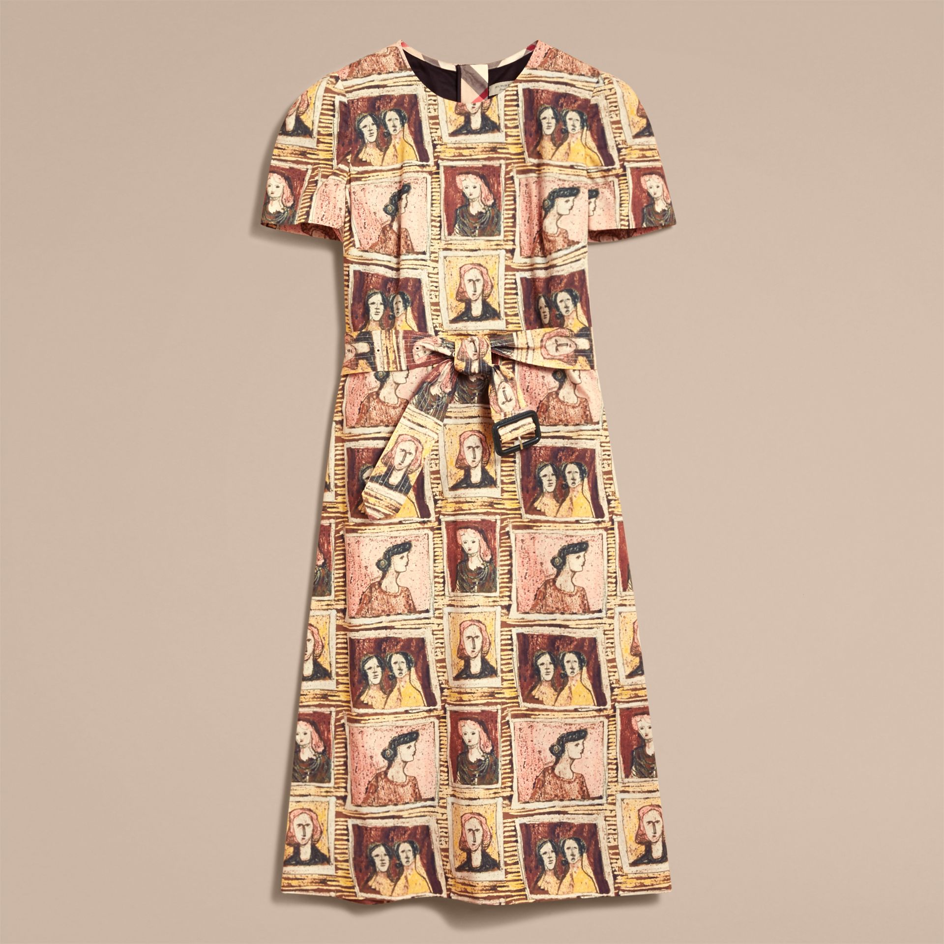Framed Heads Print Cotton Shift Dress in Umber Brown - Women | Burberry Hong Kong - gallery image 4