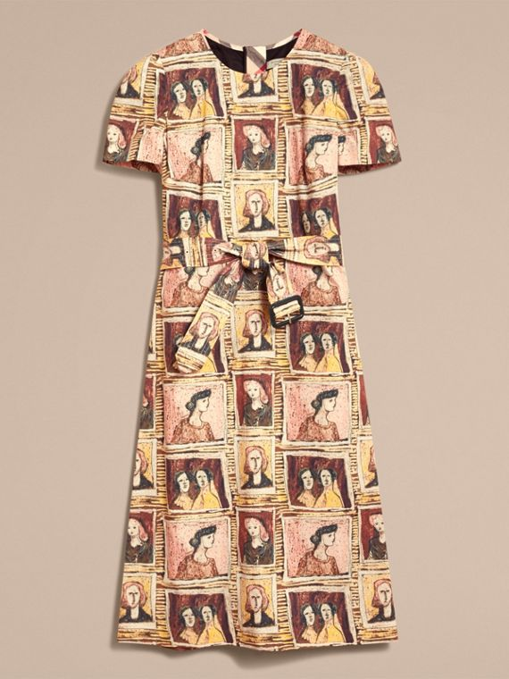 Framed Heads Print Cotton Shift Dress in Umber Brown - Women | Burberry - cell image 3