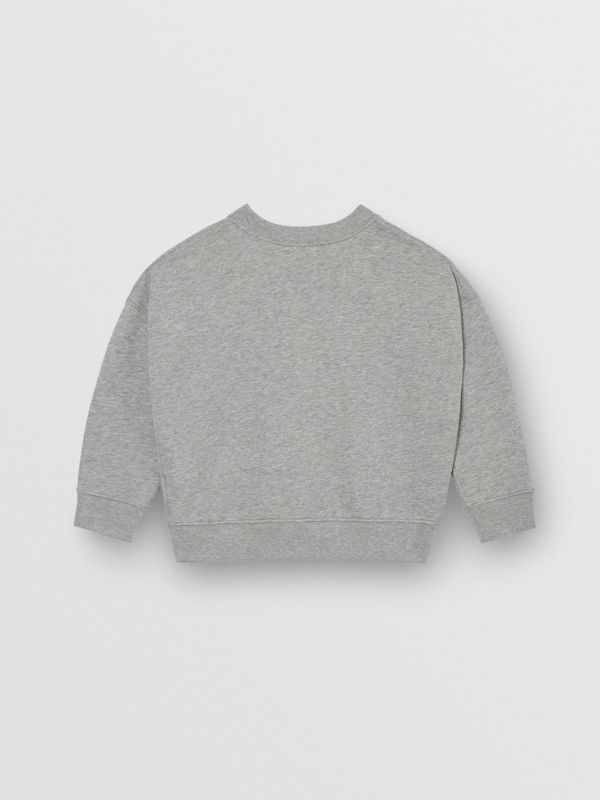 Kingdom Motif Cotton Sweatshirt in Grey Melange | Burberry - cell image 2