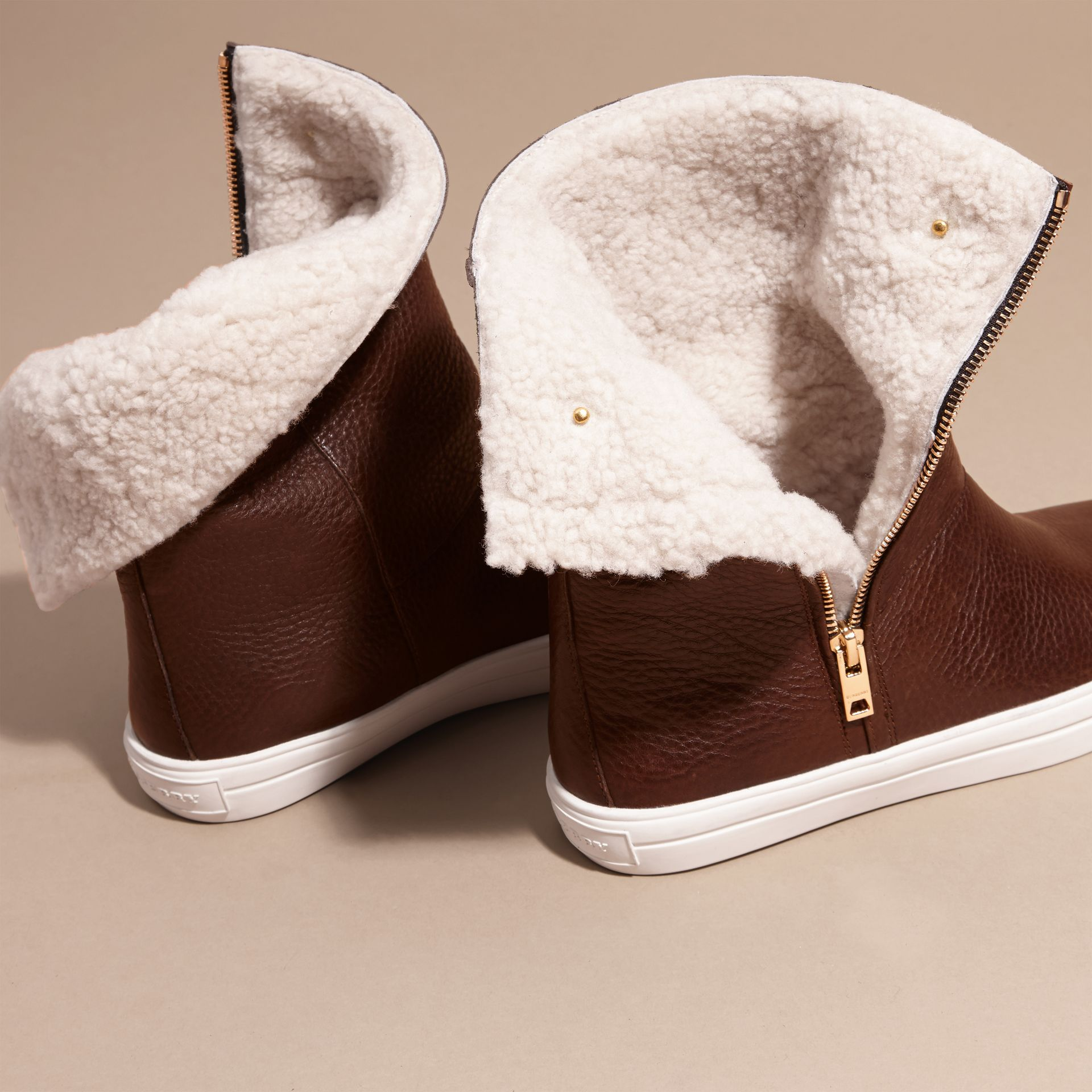 Shearling-lined Leather Ankle Boots - gallery image 4