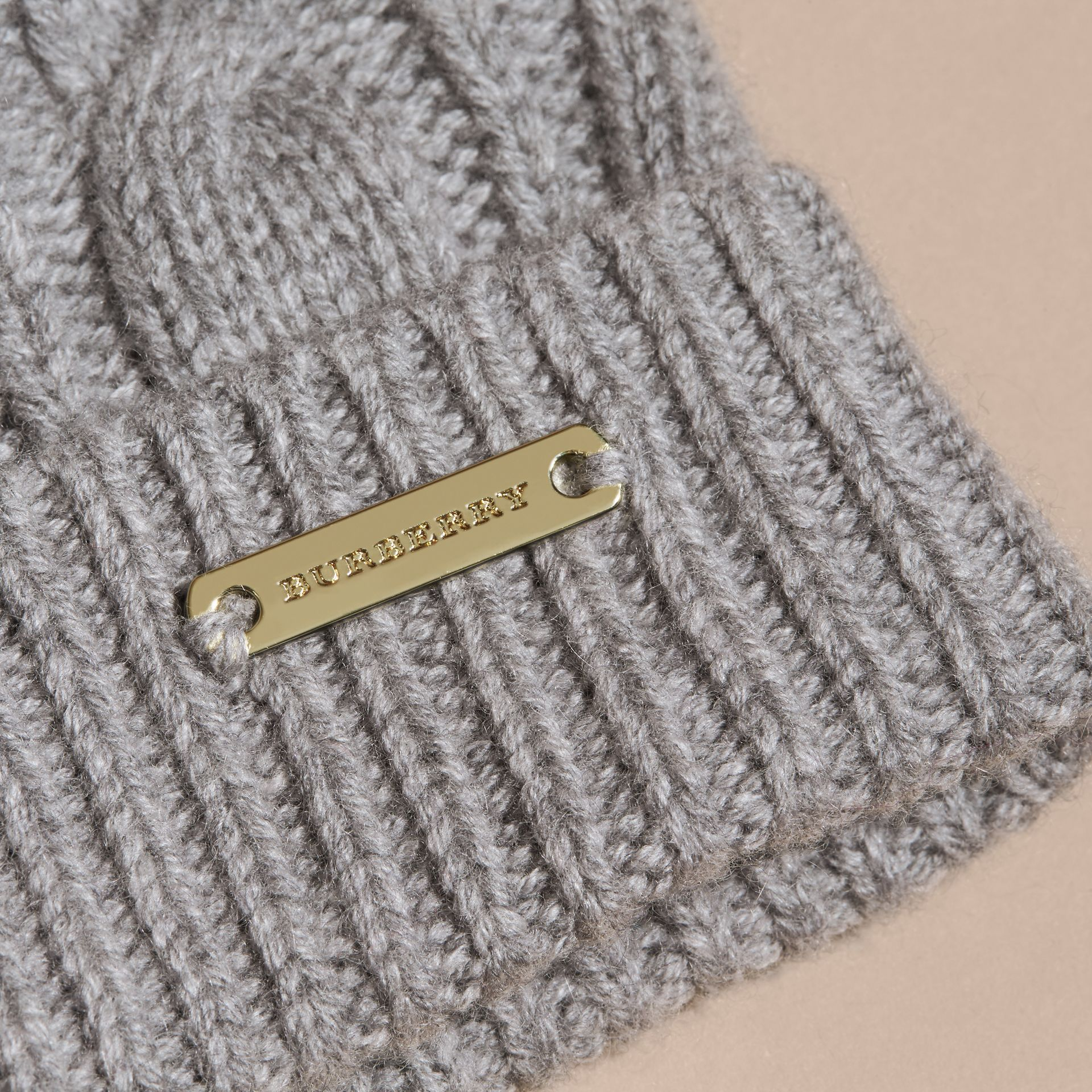 Grey melange Wool Cashmere Beanie with Fur Pom-Pom Grey Melange - gallery image 2