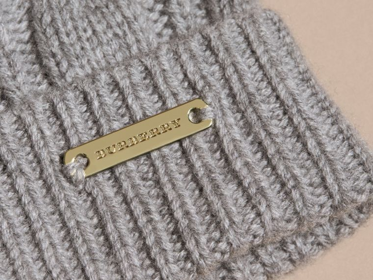 Grey melange Wool Cashmere Beanie with Fur Pom-Pom Grey Melange - cell image 1