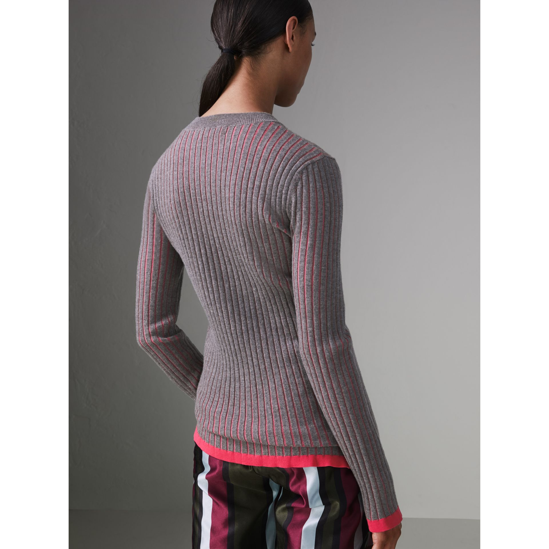 Rib Knit Cashmere Silk Sweater in Grey Melange - Women | Burberry - gallery image 2
