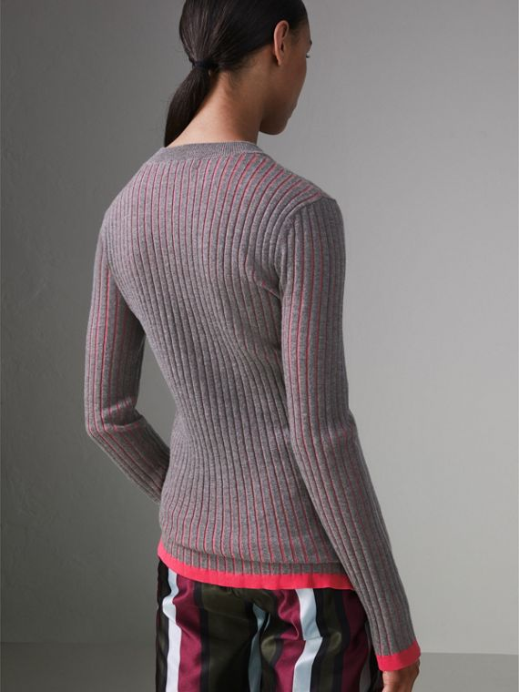 Rib Knit Cashmere Silk Sweater in Grey Melange - Women | Burberry - cell image 2