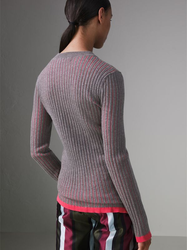 Rib Knit Cashmere Silk Sweater in Grey Melange - Women | Burberry Australia - cell image 2