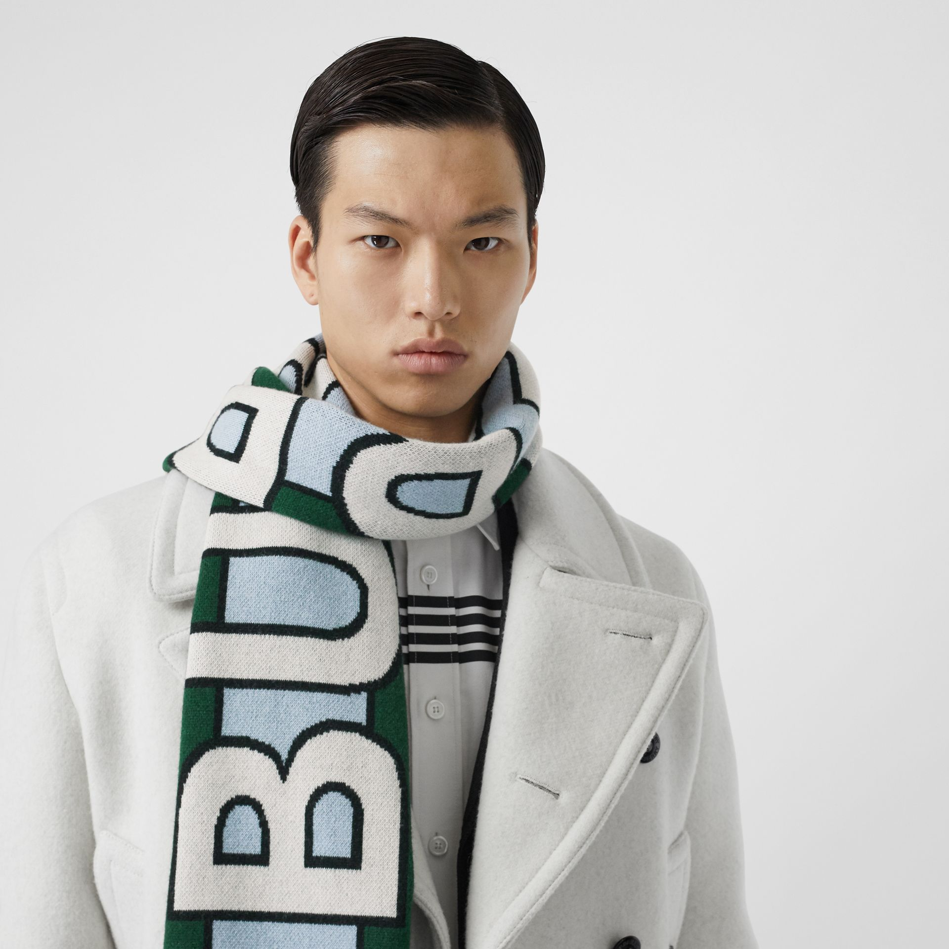 Logo Cashmere Jacquard Scarf in Dark Pine Green | Burberry - gallery image 3